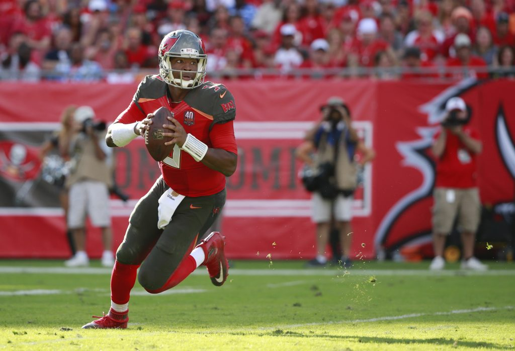 Dec 6, 2015; Tampa, FL, USA; Tampa Bay Buccaneers quarterback Jameis Winston (3) runs out of the pocket against the Atlanta Falcons during the second half at Raymond James Stadium. Tampa Bay defeated Atlanta 23-19. Mandatory Credit: Kim Klement-USA TODAY Sports
